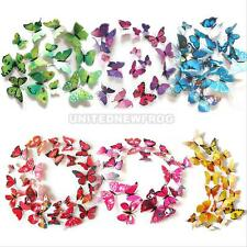 12 pcs / pack 3D wall stickers butterfly fridge magnet wedding decoration home #