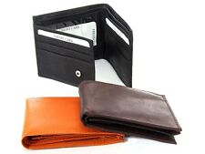 Leather Bifold 6 Credit Card 2 ID Double Bill Wallet w/Zippered Coin/Key Pocket