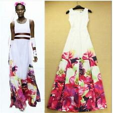 Newest 2015 Spring Floral Print White Sleeveless Maxi Dress A-line Long Dresses