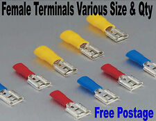 INSULATED FEMALE SPADE TERMINAL ELECTRICAL CRIMP WIRE CONNECTOR