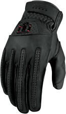 ICON 1000 Rimfire Short Gauntlet Leather Motorcycle Gloves (Black) Choose Size