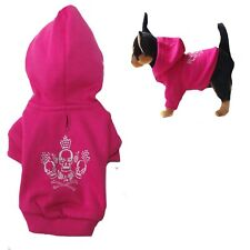 XXS Dog Hoodie Skull  Hot  Pink Teacup Chihuahua - Fleece Coat Puppy Clothes Pet