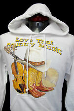 New Hooded Sweatshirt Rodeo Western Cowboy Hoodie Love That Country Music White