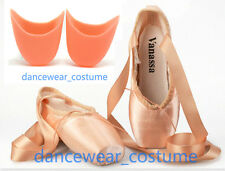 New Ladies Girls Satin Professional Ballet Pointe Shoes + Gel Silicone Toe Pads