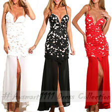 Sexy Sleeveless V Neck Lace Slim Maxi Formal Prom Evening Gown Long Party Dress