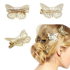 WHOLESALE Women Shiny Hair Clip Gold Butterfly Hair Accessories Lady Hair Bows