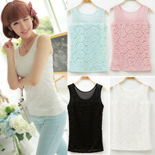New Summer Sleeveless Sexy Camisole Women Lace Floral Tank Top Shirt Vest Blouse