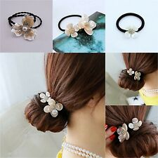 Lady's Fashion Elastic Flower Rhinestone Rope Ponytail Holder
