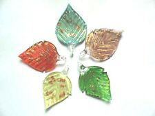 Dichroic glass 55mm leaf pendant lampwork beads 2 3/4""
