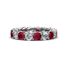 Ruby & Diamond (SI2-I1, G-H) Gallery Eternity Band 4.35 -5.13 ct tw in 14K Gold
