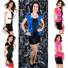 Formal Office Work Wear Short Cap Sleeve Black Peplum Mini Bodycon Party Dress