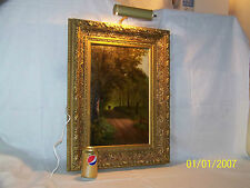 "Antique c1887 Original Oil On Panel ""Carriage on Woodland Path"" Fantastic Frame"