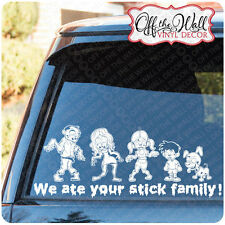 Zombie Family Figures Stick Figure Walking Dead Vinyl Stickers (WHITE ONLY)