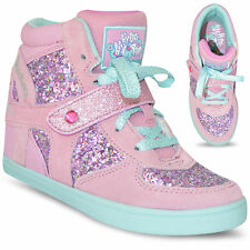 Kids Girls HyDee Hy Top Skechers Secret Wedge Hi Top Trainers Shoes Boots Size
