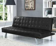 Modern 3 Seater Designer Sofa Bed Faux Leather New Black Brown Grey Cream Red
