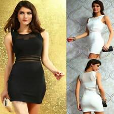Sexy Mesh Sleeveless Mini Bodycon Formal Work Wear Evening Cocktail Party Dress
