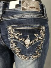 Beautiful Womens GRACE IN LA Bootcut Jeans W/Crystals & Leather Design Pockets