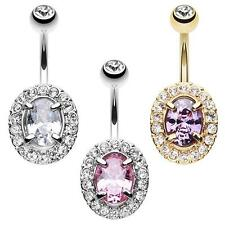 Golden Grand Sparkle Gem Belly Ring Pink Clear Dangle Purple CZ Navel Sexy Fancy