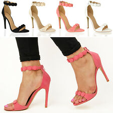 Womens ladies party evening prom barely there ankle bead high heel sandals size