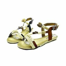 Black beige rope edged flat strappy sandals