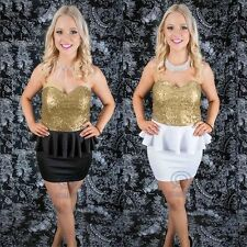 Gold Sequin Strapless Peplum Prom Formal Party Casual Club Wear Sexy Mini Dress