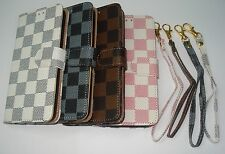 Luxury PU Leather Credit Card Grid Flip Pouch Stand Wallet Case For iPhone 5 5S
