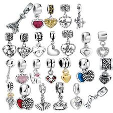 Heart Love Beads Pendant Fit European Charms 925 Silver Sterling Bracelets Chain