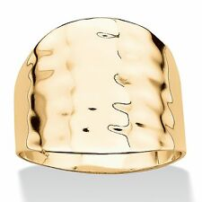 14k Gold-Plated Hammered-Style Cigar Band Ring