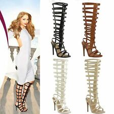 NEW WOMENS LADIES KNEE HIGH HEEL GLADIATOR SANDALS STILLETO STRAPPY BOOTS SIZE
