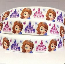 "GROSGRAIN PRINTED RIBBON Sofia with Castle S7 7/8"" BULK 1, 3, 5, 10, 20 Yards"