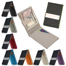 Men's Faux Leather Silver Money Clip Slim Wallet ID Credit Card Holder Case New