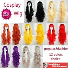 US Ship Multi Color Heat Resistant Cosplay Wigs Fashion Purple Red Pink Wig h5