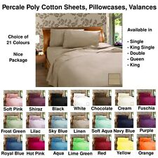 Poly Cotton Fitted / Flat Sheets, Std / Euro Pillowcases, Valances - All Sizese