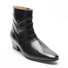 Lucini Mens Side Zip Leather Cuban Heel Formal Dress Ankle Boots Black