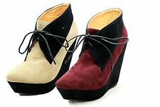 Ladies Suedette high heel wedge Ankle Boots