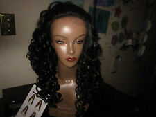NWT Diana Bohemian synthetic futura Jet  Black long curly lace front wig