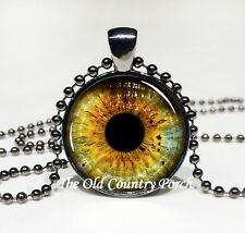 Yellow Wolf Eye Necklace - Glass Pendant Necklace