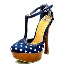 Navy Blue polka dot high heel t bar platform shoes with brown heel