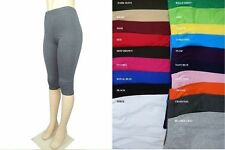 WOMEN COTTON SPANDEX MISSES N PLUS CAPRI LEGGINGS GYM YOGA 20 COLORS S-3XL