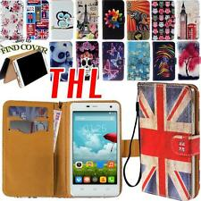 STAND FLIP CARD WALLET LEATHER Cover Custodia Folio per vari smartphone THL