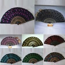 Hand Held Fan Chinese Folding Sequins Peacock Tail Wedding Party Decor Fan U26