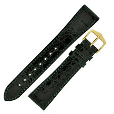 Hirsch GENUINE CROCO Shiny Crocodile Leather Watch Strap and Buckle in GREEN