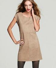 Joie Aloisa Leather Dress Smokey Topaz Brown Camel Shift Leopard Printed Suede
