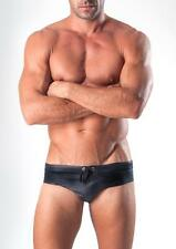 Geronimo Black Pleather Competition Lowrise Swim Briefs