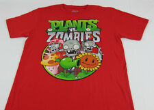 Mens NEW Plants vs. Zombies Game Characters Red T-Shirt Size M L XL
