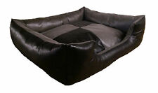 Luxury black and grey faux leather rectangle dog or cat bed. 3 sizes