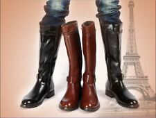 Men's Zipper Pointed Toe Punk PU Leather Riding Knee High Boots Shoes Equestrian