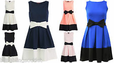 Women Ladies Contrast Panel Bow Detail Flared Skater Dress Size 8 -28