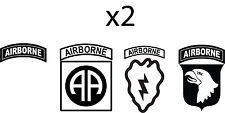 Set of 2 Airborne Tab Army Infantry 25th, 82nd, 101st Vinyl Decal Bumper Sticker