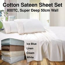 100% Cotton Sateen Sheet Set - 800TC Super Deep 50cm Wall - Queen/King - RC800